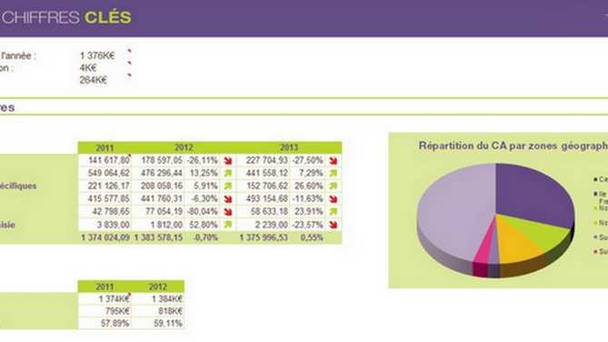Exemple d'analyse des chiffres clés sur MyReport