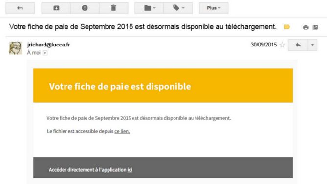Notification par mail réception bulletins de paie